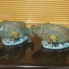 PAIR OF INDOOR OUTDOOR FISH WITH FISHERMAN PLANTER OR FLOWER POT