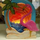 Handpainted Flamingo Silhoutte, Night Light Complete with Clip light Ceramic