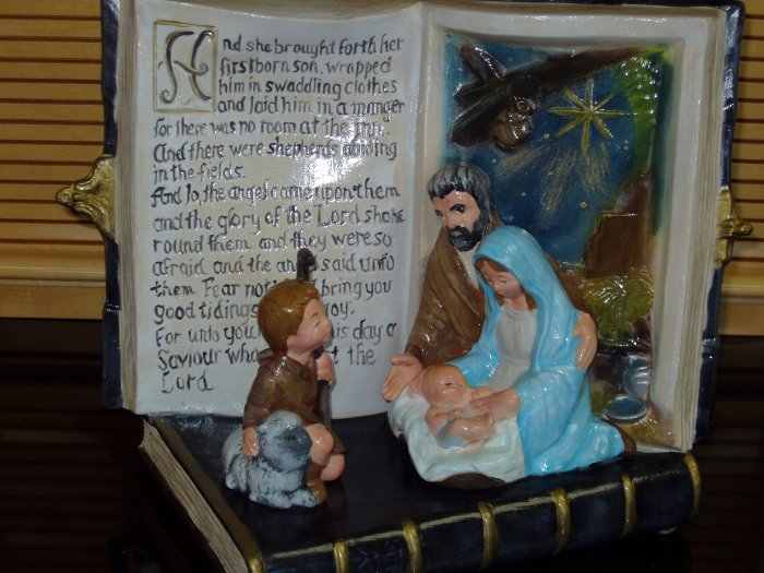 Nativity Scene with Open Bible Christmas Verse Ceramic Handpainted