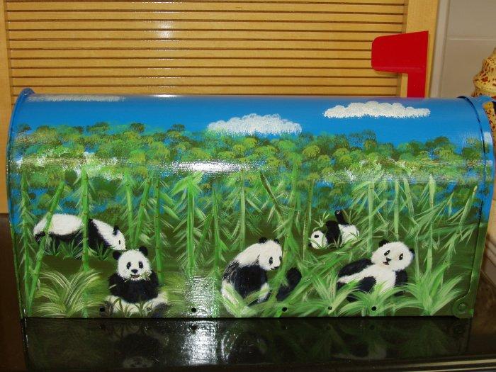 Hand Painted Handpainted Mailbox Mailboxes Panda Bears 07