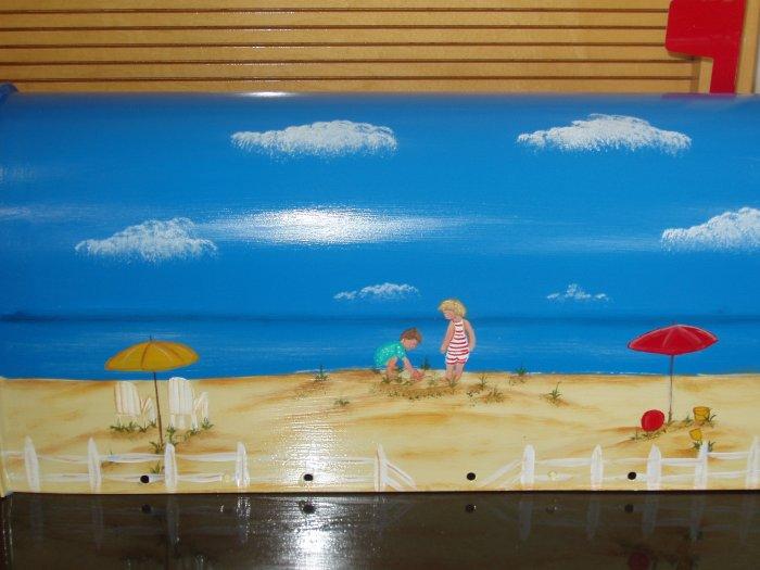 Handpainted Mailbox Hand Painted Mailboxes Children's Beach Scene 04