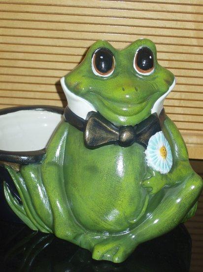 Large Ceramic Frog Planter Flower Pot Handpainted Hand Painted