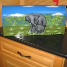 Hand Painted Mailbox with Mother and Baby Elephant Design
