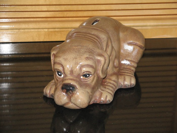 Handcrafted, Hand Painted Ceramic Shar-Pai Puppy Bank