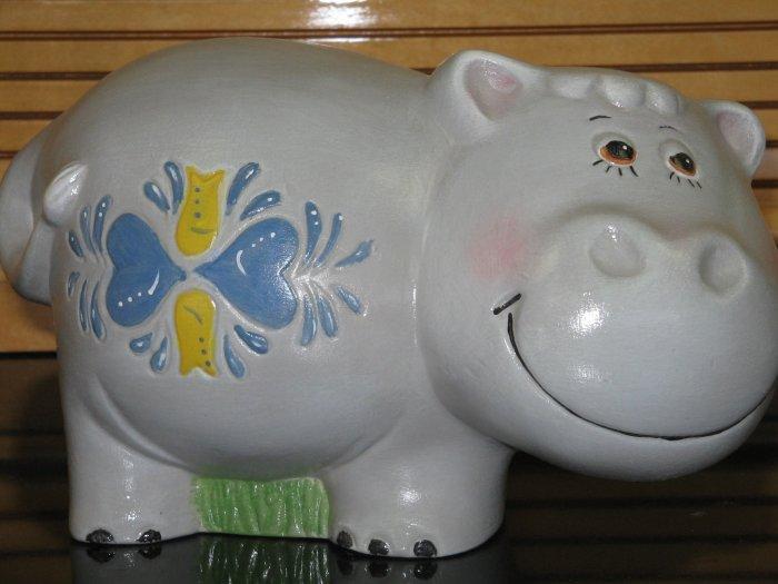Ceramic Hippo Bank Hand Painted Handcrafted Hippopotamus