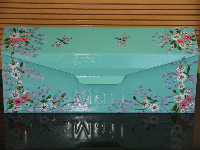 Hand Painted Wall Mount Floral Design w/Dragonflies Mailbox
