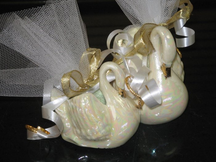 Handcrafted Double Swan Swans Shower Wedding Favors
