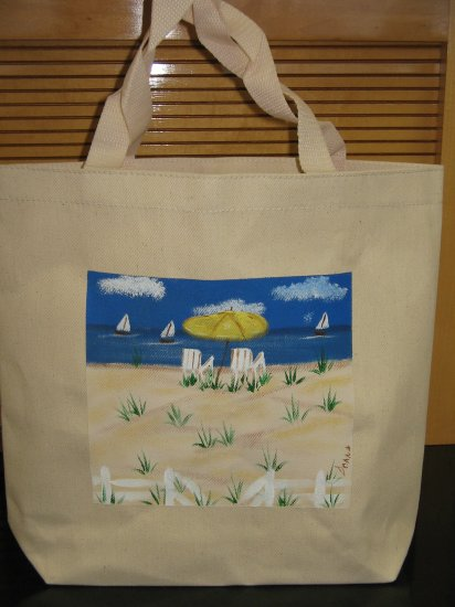 Beach Scene Canvas Tote Bag Reusable Hand Painted