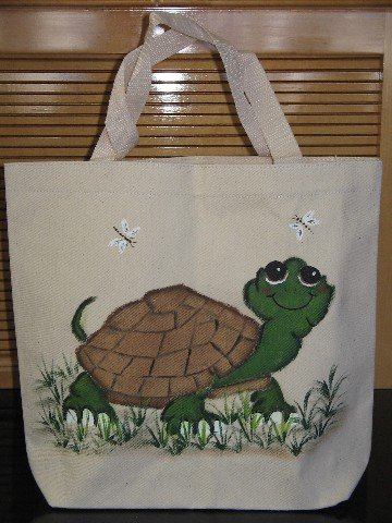 Canvas Tote Bag Hand Painted Turtle Dragonfly's Design