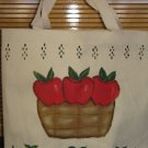 Hand Painted Apple Design Canvas Tote Bag Handpainted Apples