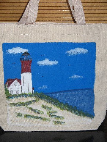 Hand Painted Lighthouse Design Canvas Tote Bag