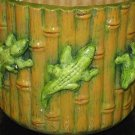 Ceramic Bamboo Look Planter With Alligators