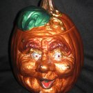 Hand Painted Halloween Large Ceramic Ugly Pumpkin Metallic Lacquers