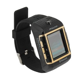 Quad Band Waterproof Watch Style Cell Phone Black-gold
