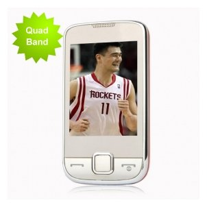 S5800 White-Red Quad Band Dual SIM Touch TV Cell Phone