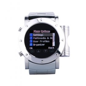 Wholesale W980 Cool Stainless Steel Quad Band Bluetooth Mp3 Mp4 Wrist Watch Cell Phone Silver