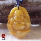 Laughing Buddha Yellow Jade pendant necklace