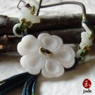 Chinese Flower & butterflies jade pendant necklace