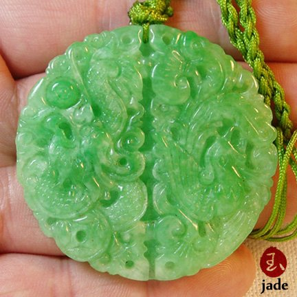 Chinese Green Dragon & Phoenix jade pendant necklace SOLD!