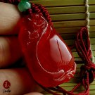 Red peach jade necklace pendant