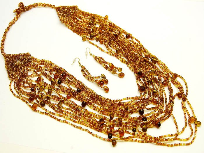 Brown Glass Bead Necklace and Earring Set