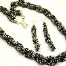 Braided Lucite Beads Necklace and Earring Set