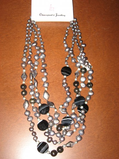 Brand New, Genuine Abalone, Agate and Freshwater Pearl Necklace