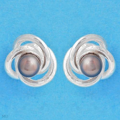 Brand New, Genuine Black Pearl Stud Earrings