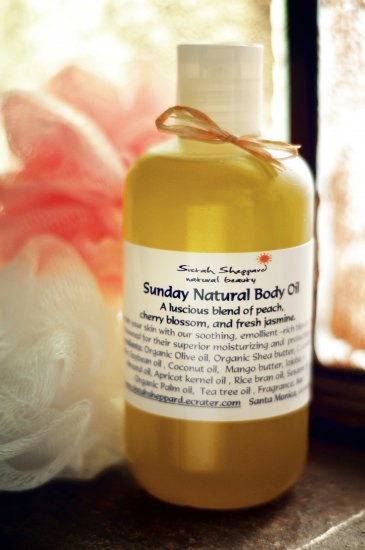 Sunday Natural Body Oil 8oz peach, cherry blossom, jasmine & vanilla.