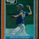 Kelvin Jimenez Texas Rangers 2006 Bowman Chrome Orange Refractor RC SN#/25 BC85