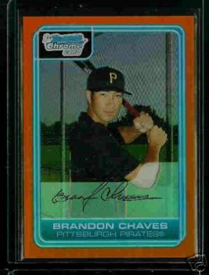 Brandon Chaves Pittsburgh Pirates 2006 Bowman Chrome Orange Refractor RC SN#/25 BC108