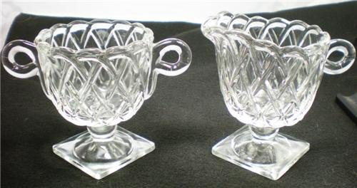 VINTAGE INDIANA GLASS CREAMER & SUGAR PRETZEL PATTERN