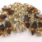 VINTAGE AMBER RHINESTONE BROOCH & CLIP EARRINGS