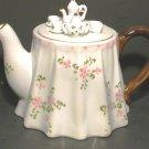 China Tea Pot - Miniature Tea Set on Lid - Mint Cond.