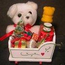 Christmas Cradle Music Box Teddy Bear & Presents EC