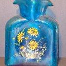 Handpainted Flowered Blue Vase - Vintage GC