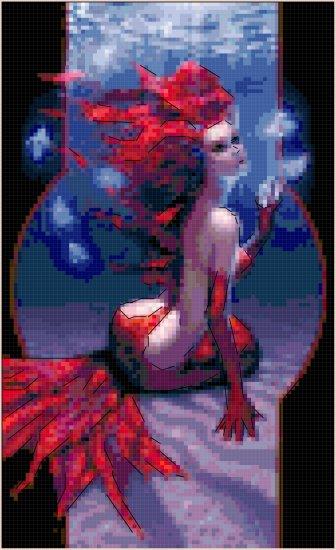 Red Mermaid Cross Stitch Pattern