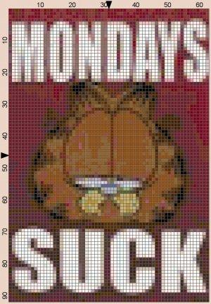 Mondays Suck Cat Cross Stitch Pattern