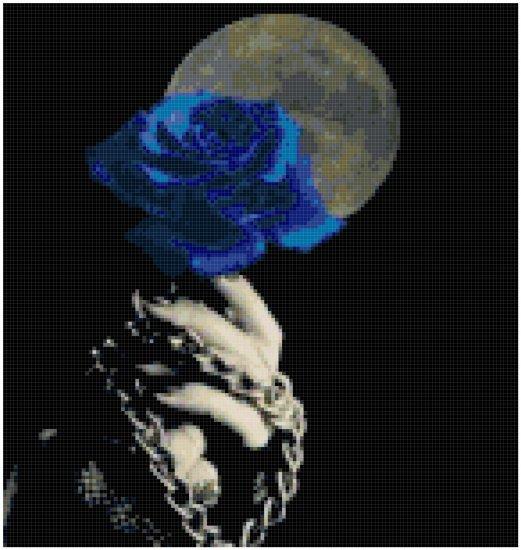 Counted Cross Stitch Original Pattern - Blue Rose