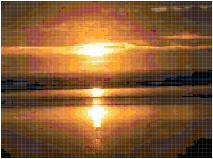 Original Counted Cross Stitch Pattern of Beach Sunset
