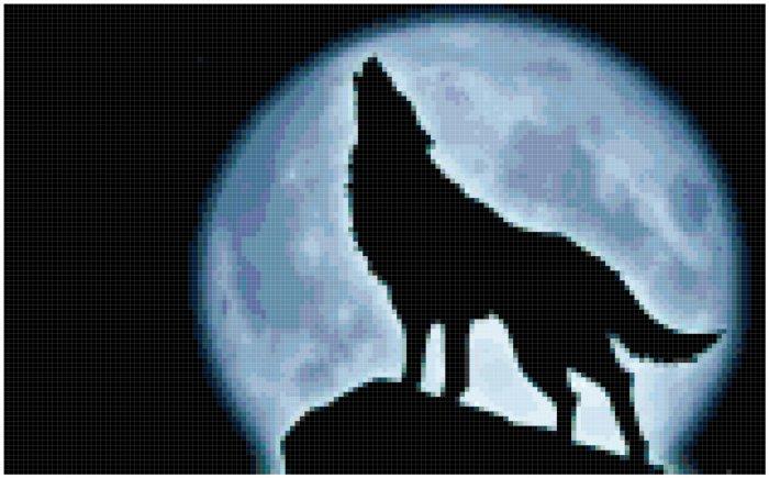 Lone Wolf with Moon Cross Stitch Pattern