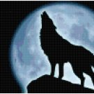 Lone Wolf with Moon Cross Stitch Pattern
