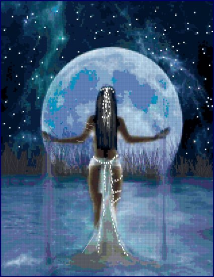 Cross Stitch Original Pattern  Moon Goddess