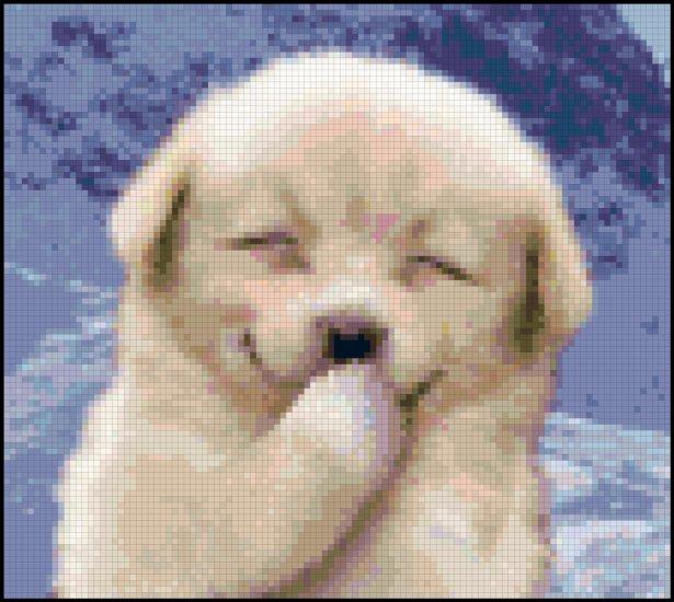 Cross Stitch Pattern of a Smiling Puppy