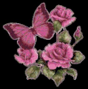 Pink Butterfly and Roses Cross Stitch Pattern