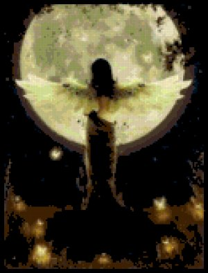 Counted Cross Stitch Pattern - Glowing Moon Angel
