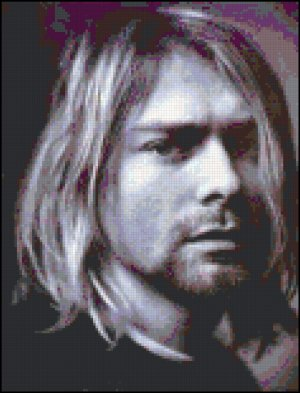 Kurt Cobain Cross Stitch Pattern Portrait