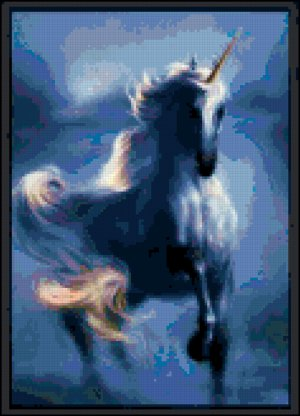 Counted Cross Stitch Pattern - Blue Unicorn