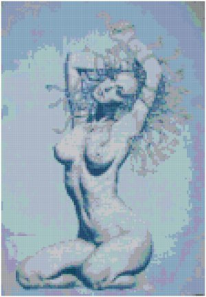 Blue Nude Original Cross Stitch Pattern