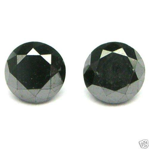1 carat BLACK Brilliant ROUND POLISHED DIAMONDS Pairs